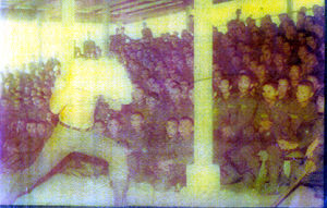 Grandmaster Dacayana head breaking technique demonstation in the earely 70's in front of approx. 5000 of his military students at camp Lapu Lapu, Lahug, Cebu City.